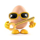 3d Egg with a gold key Royalty Free Stock Images