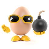 3d Egg has a bomb. 3d render of an egg holding a bomb Royalty Free Stock Image