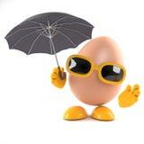 3d Egg has an umbrella Stock Photo