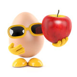 3d Egg holds an apple. 3d render of an egg character holding an apple Royalty Free Stock Photography