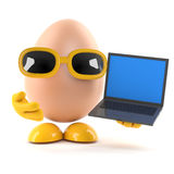 3d Egg with laptop Stock Photo