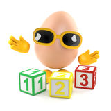 3d Egg learns to count. 3d render of an egg with wooden counting blocks Royalty Free Stock Photo