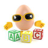 3d Egg learns to read Stock Images