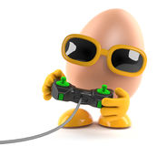 3d Egg playing a video game Royalty Free Stock Photos
