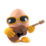 3d Egg plays acoustic guitar. 3d render of an egg playing acoustic guitar Stock Photos