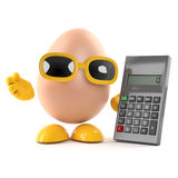 3d Egg uses a calculator Stock Photo
