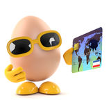 3d Egg using a debit card Royalty Free Stock Images
