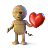 3d Egyptian mummy monster is in love Stock Images
