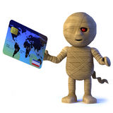 3d Egyptian mummy monster pays with a debit card. 3d render of an Egyptian mummy monster holding a debit card royalty free illustration