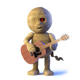3d Egyptian mummy monster plays acoustic guitar Royalty Free Stock Images