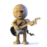 3d Egyptian mummy monster plays electric guitar Royalty Free Stock Images