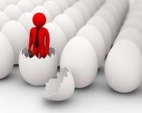 3d eieren en het concept van de bedrijfsmensengeboorte Royalty-vrije Stock Afbeeldingen