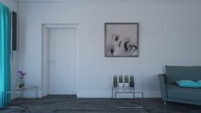 3D eigentijds Woonkamer Binnenlands en modern meubilair stock afbeelding