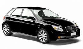 3D Eigentijdse Glanzende Zwarte auto Royalty-vrije Stock Afbeeldingen