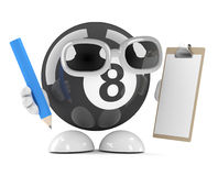3d Eight ball with clipboard and pencil. 3d render of an eight ball character clipboard and pencil Stock Photo