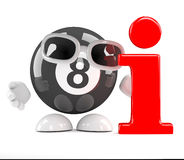 3d Eight ball information. 3d render of an 8 ball character next to an information symbol Royalty Free Stock Photography