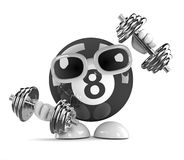 3d Eight ball lifts weights at the gym. 3d render of an 8 ball character lifting weights Stock Images