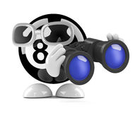 3d Eight ball looks through binoculars. 3d render of an 8 ball character holding a pair of binoculars Stock Images