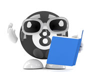 3d Eight ball reads a book Royalty Free Stock Photography