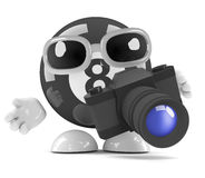 3d Eight ball takes pictures with a camera. 3d render of an 8 ball character using a camera Royalty Free Stock Photography