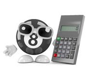 3d Eight ball uses a calculator. 3d render of an 8 ball character next to a calculator Royalty Free Stock Image