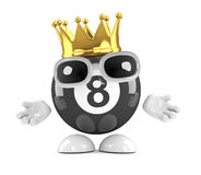 3d Eight ball wears a gold crown. 3d render of an 8 ball character wearing a gold crown Royalty Free Stock Images