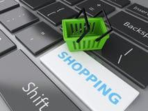 3d Einkaufskorb auf Computertastatur auf weißem background Lizenzfreies Stockfoto
