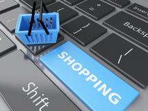3d Einkaufskorb auf Computertastatur auf weißem background Stockbild