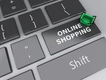 3d Einkaufskorb auf Computertastatur auf weißem background Lizenzfreie Stockfotografie