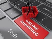 3d Einkaufskorb auf Computertastatur auf weißem background Stockfotografie