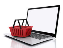 3D Einkaufskorb auf weißem background Lizenzfreie Stockfotografie
