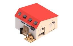 3d ejemplo de una caja del garaje, caja de almacenamiento con las cajas vacías ilustración del vector