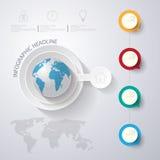 3D ejemplo digital abstracto Infographic con el mapa del mundo lata ilustración del vector