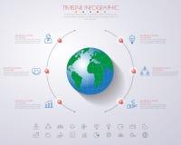 3D ejemplo digital abstracto Infographic con el mapa del mundo lata stock de ilustración