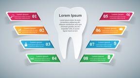 3D ejemplo digital abstracto Infographic Icono del diente Imagenes de archivo