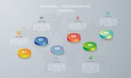 3D ejemplo digital abstracto Infographic utilizado para la disposición del flujo de trabajo, diagrama, opciones del número, diseñ ilustración del vector