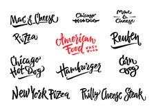 D? a ejemplo exhausto del vector el perro de ma?z americano popular de las variedades de la comida, perrito caliente de Chicago,  stock de ilustración