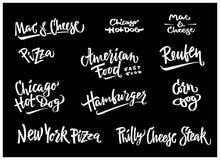 D? a ejemplo exhausto del vector el perro de ma?z americano popular de las variedades de la comida, perrito caliente de Chicago,  libre illustration