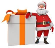 3d ejemplo Santa Claus alegre con el regalo ilustración del vector