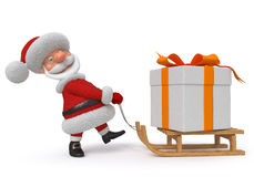 3d ejemplo Santa Claus con un regalo ilustración del vector