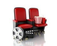 3d Ekranowa rolka, popkorn i kina clapper deska na teatru siedzeniu, Zdjęcie Royalty Free