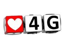 3D el botón del amor 4G hace clic aquí el texto del bloque Imagen de archivo
