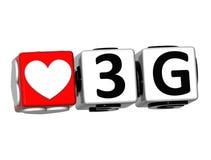 3D el botón del amor 3G hace clic aquí el texto del bloque Fotos de archivo