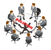 3d el carácter, gente del equipo del hombre que se sienta alrededor de una tabla con la solución manda un SMS en él ilustración del vector