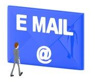 3d el carácter, hombre que camina hacia sobre con el texto del correo electrónico y lo firma adentro Ilustración del Vector