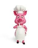 3d el cocinero Pig con los pulgares para arriba presenta Imagen de archivo libre de regalías