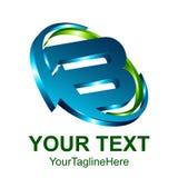 3d el elemento de la plantilla del diseño del logotipo de la letra inicial B coloreó a GR azul libre illustration