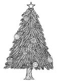 Dé el estilo exhausto del zentangle del árbol de navidad con las bolas de la Navidad y las cajas de regalo Foto de archivo libre de regalías