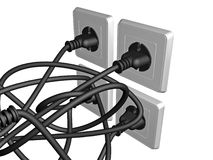 3D electric cable plugged into a socket Royalty Free Stock Images