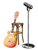 3D Electric guitar stool and microphone. White background Stock Images